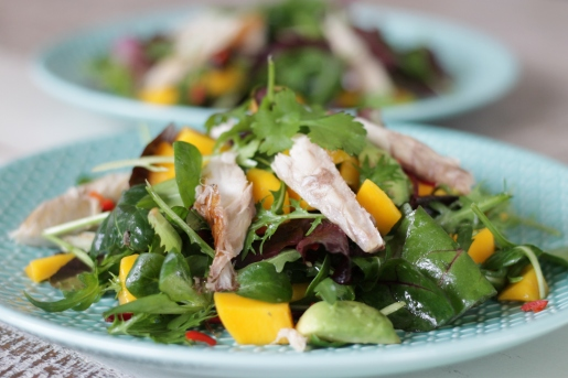 Salade met vers gerookte makreel, mango en avocado