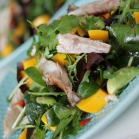 Salade met gerookte makreel, mango en avocado