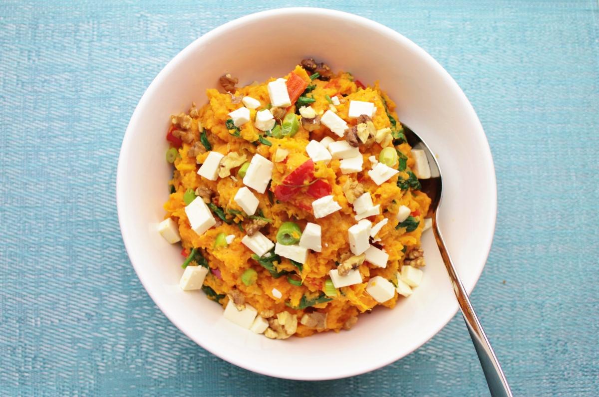 Zoete Aardappelstamppot met spinazie en feta
